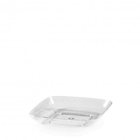 Fingerfood talířek čtvercový, čirý (PS)  6,2 x 6,2 x 1,2 cm