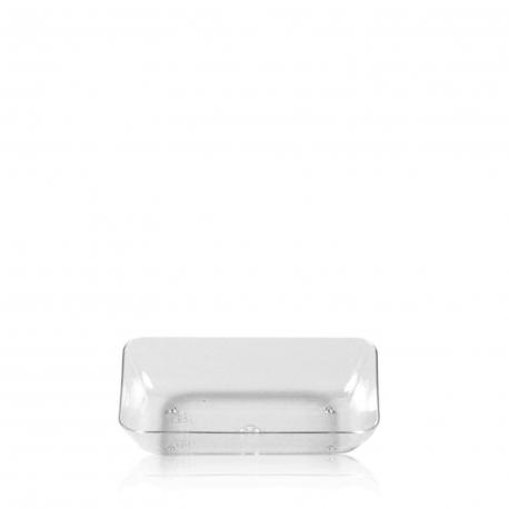 Fingerfood talířek obdelníkový, čirý (PS)  7,7 x 5,2 x 1,6 cm