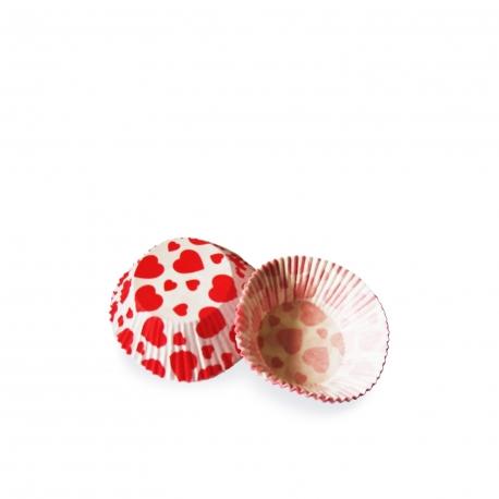 Cukrářské košíčky červená srdíčka (PAP)  Ø 50 x 30  mm