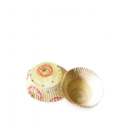 Cukr. koš. bílé se zlatými hvězdičkami (PAP)  Ø 50 x 30  mm