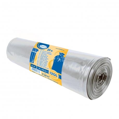 Pytle na odpadky 120 L - TRANSPARENTNÍ  (LDPE) Typ 60