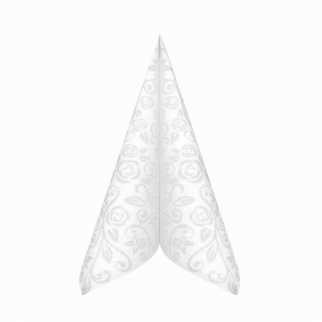 "Ubrousky AIRLAID - PREMIUM  ""dekor R""  40 x 40 cm -  bílé"