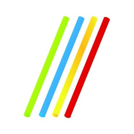 Slámky barevné mix  (PP)   Ø 8 mm x 25 cm (JUMBO)