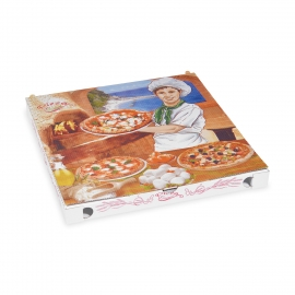 Krabice na pizzu z vlnité lepenky   (PAP) 32,5 x 32,5 x 3 cm