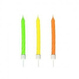 Narozeninové svíčky neon se stojánkem  60 mm