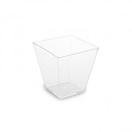 Fingerfood kelímek hranatý, čirý 60 ml (PS)  5,0 x 5,0 x 4,5 cm