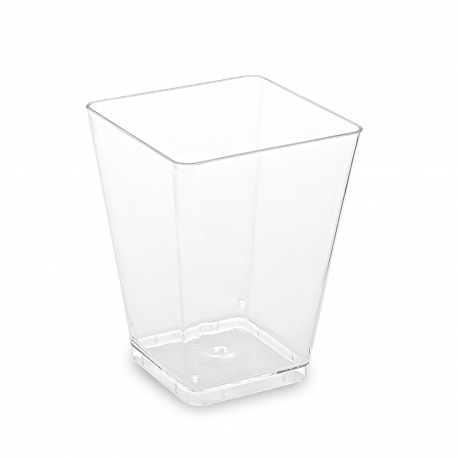 Fingerfood kelímek hranatý, čirý 160 ml (PS)  5,8 x 5,8 x 7,6 cm