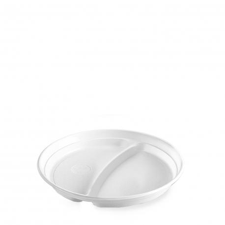 Talíř dělený na 2 porce, bílý (PP)  Ø 22 cm