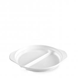 Talíř s oušky dělený na 2 porce, bílý (PP)  Ø 22 cm